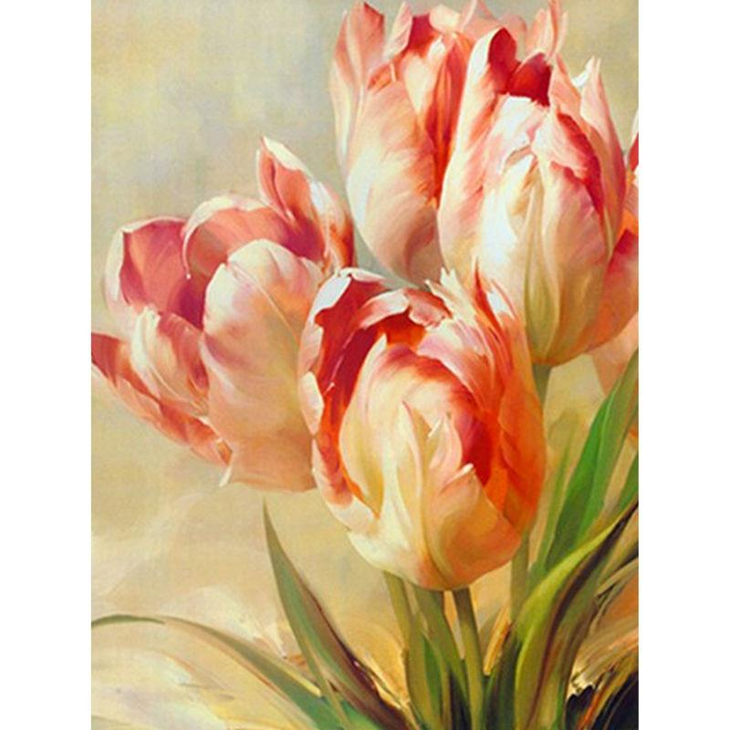 5D Diamond Painting Pinkish Orange Tulip
