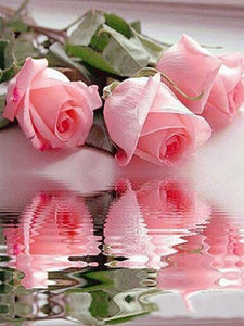 5D Diamond Painting Pink Rose Reflection
