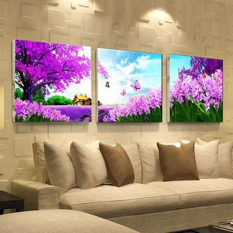 Image of 5D Diamond Painting Purple Lavender
