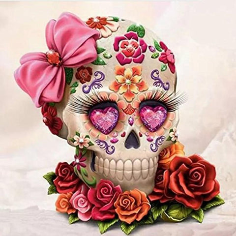 Image of 5D Diamond Painting Pink Skull