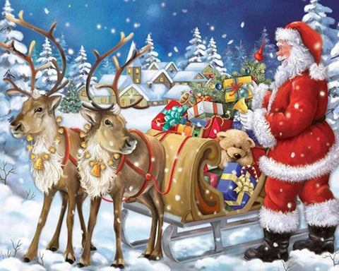 Image of 5D Diamond Painting Santa Claus and the Reindeer