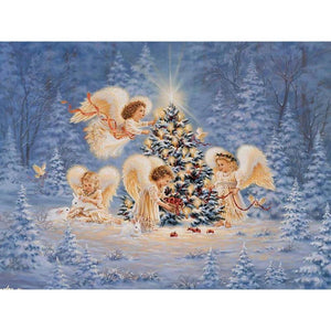 5D Diamond Painting Christmas Angels Decorating Tree