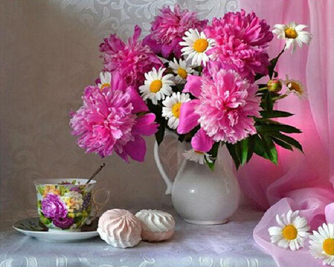 Image of 5D Diamond Painting Steamed Bread and Flowers