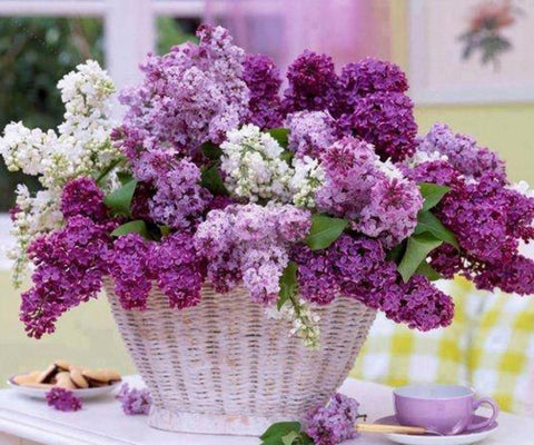 Image of 5D Diamond Painting Purple Lovely Flowers