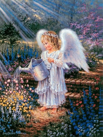 5D Diamond Painting Angel in Garden