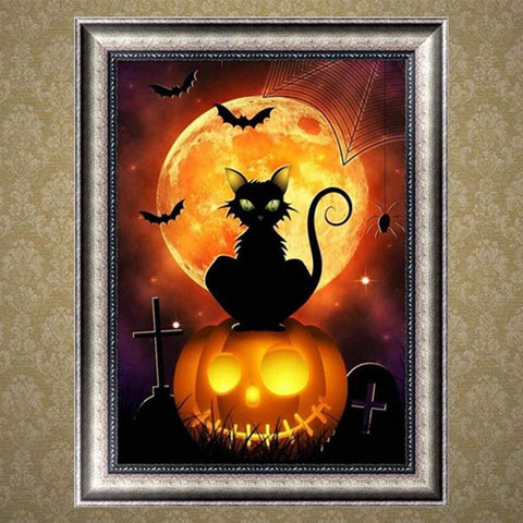 Image of 5D Diamond Painting Pumpkin Cat