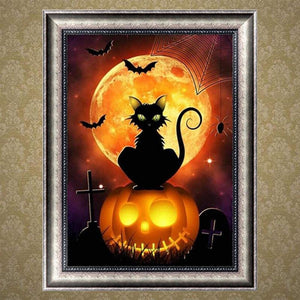 5D Diamond Painting Pumpkin Cat
