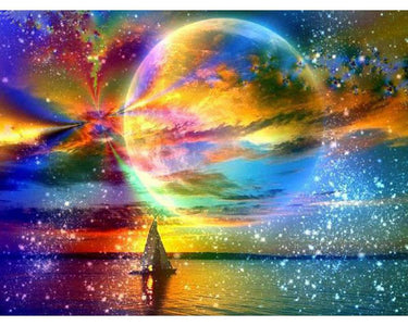 5D Diamond Painting Colorful Full Moon