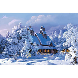 5D Diamond Painting Snow House Scenery