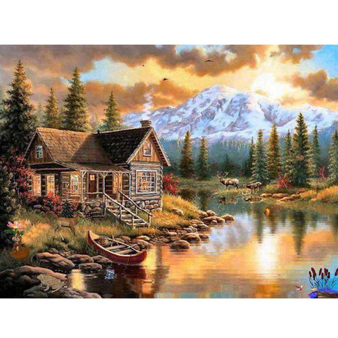 5D Diamond Painting House Stream Scenery