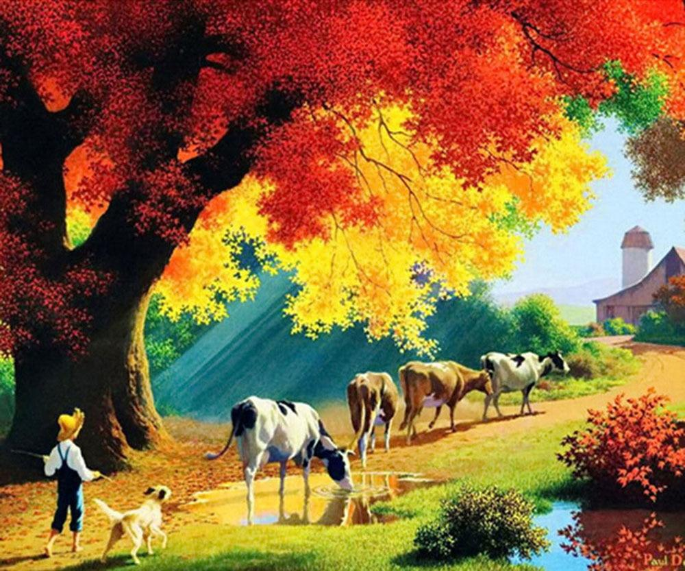 5D Diamond Painting Cow in the Mountain