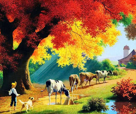 Image of 5D Diamond Painting Cow in the Mountain
