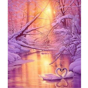 5D Diamond Painting Snow Swan