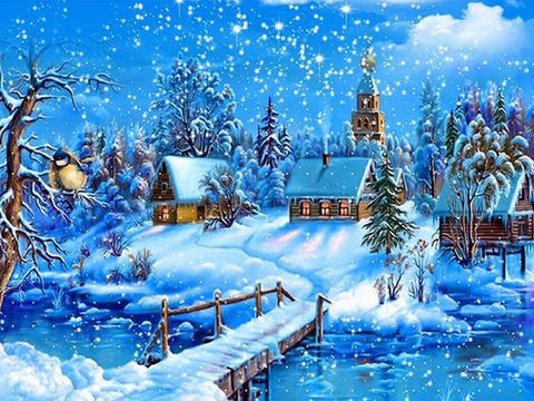 Image of 5D Diamond Painting Snow Covered Town