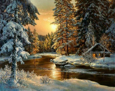5D Diamond Painting Snow Covered Town