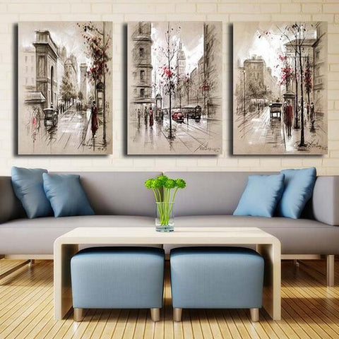 Image of 5D Diamond Painting Triple Street Scenery