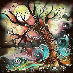 5D Diamond Painting Moon Tree