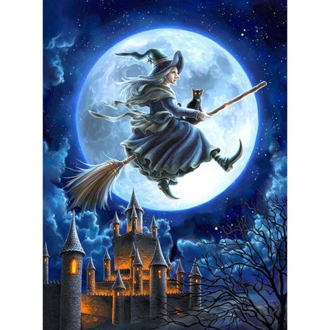 5D Diamond Painting Witch & Castle Halloween