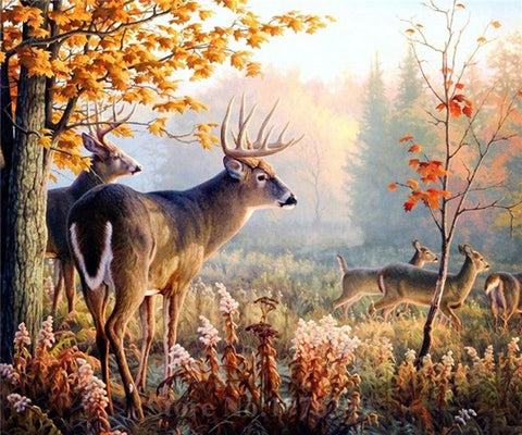 Image of 5D Diamond Deers in the Autumn