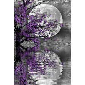 5D Diamond Painting Waterside Moon Reflection