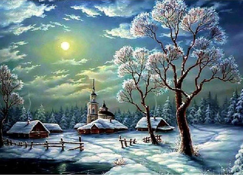 Image of 5D Diamond Painting Snow and the Sun Meets