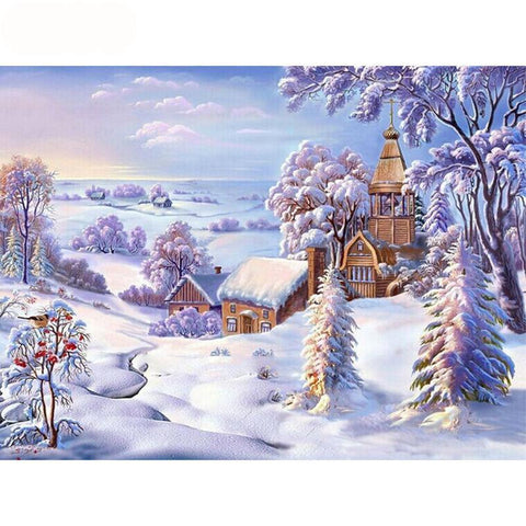 Image of 5D Diamond Painting Snow Hill Village