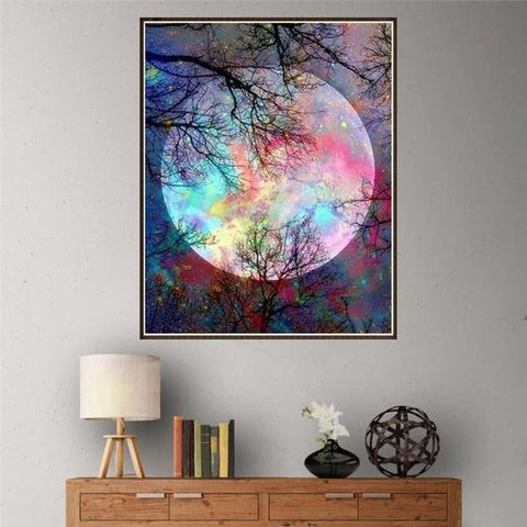 5D Diamond Painting Colorful Mysterious Full Moon