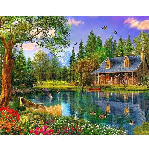 Image of 5D Diamond Painting Summer Cabin by the Lake