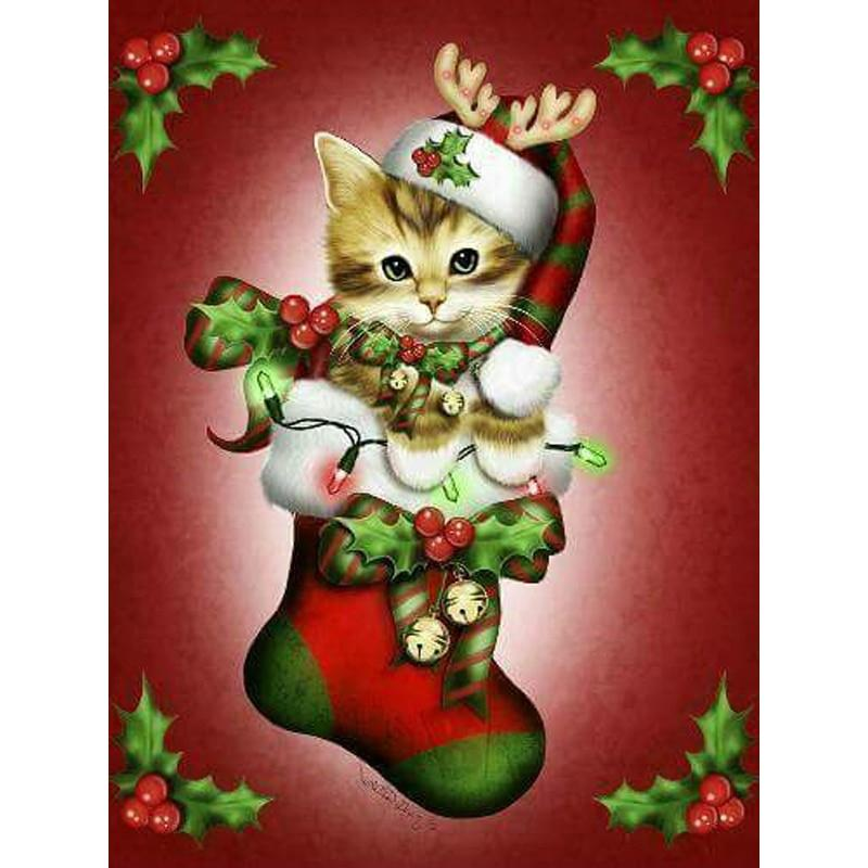 5D Diamond Painting Kitten in Stocking