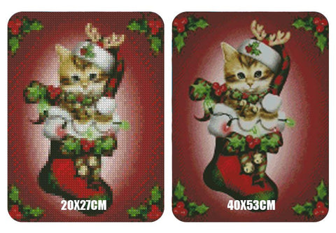 Image of 5D Diamond Painting Kitten in Stocking