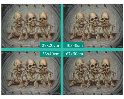 5D Diamond Painting Three Skulls
