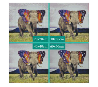 5D Diamond Painting Elephant with Butterfly Ears