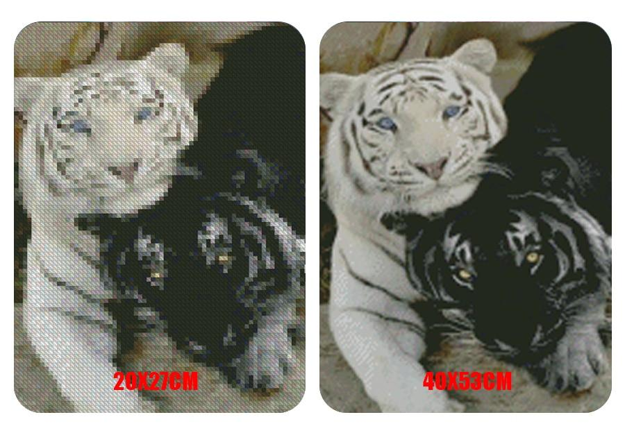 5D Diamond Painting Black and White Tiger