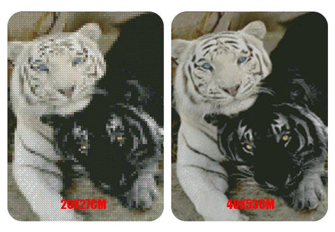 Image of 5D Diamond Painting Black and White Tiger