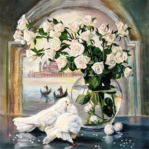 Image of 5D Diamond Painting White Rose and Pigeons