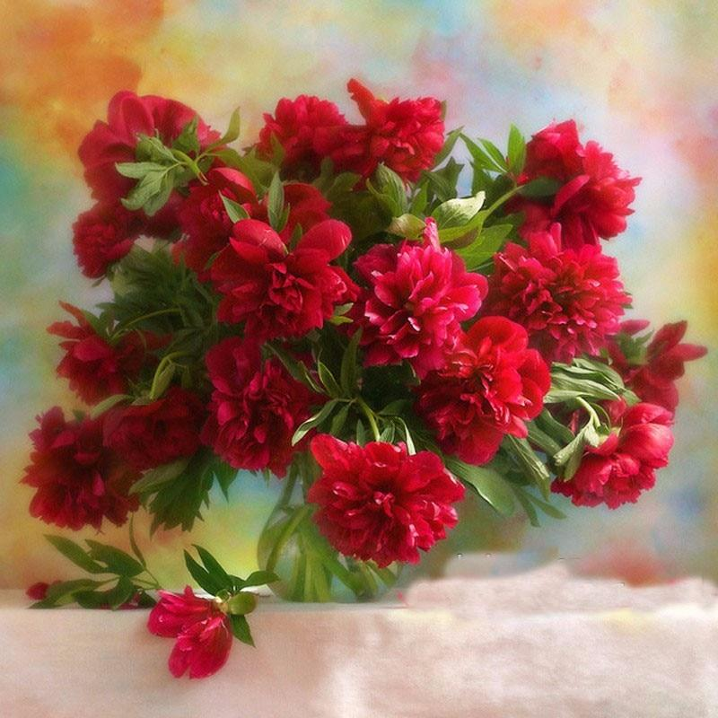 5D Diamond Painting Red Peony
