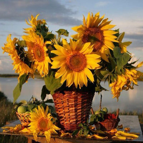 Image of 5D Diamond Painting Basket of Sunflowers