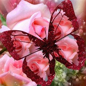 5D Diamond Painting Pink Roses and Red Butterfly
