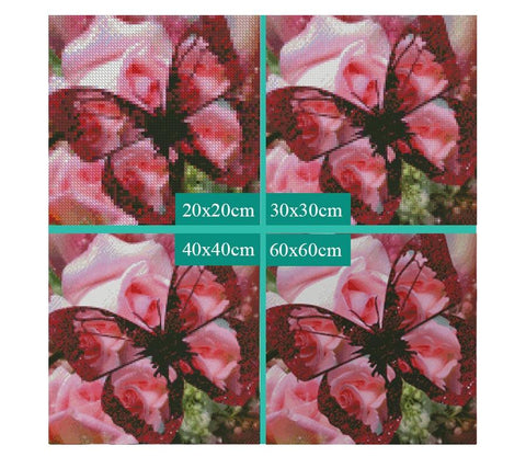Image of 5D Diamond Painting Pink Roses and Red Butterfly