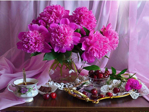 Image of 5D Diamond Painting Peony and Fruit