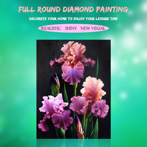 5D Diamond Painting Purple with Orange Flowers