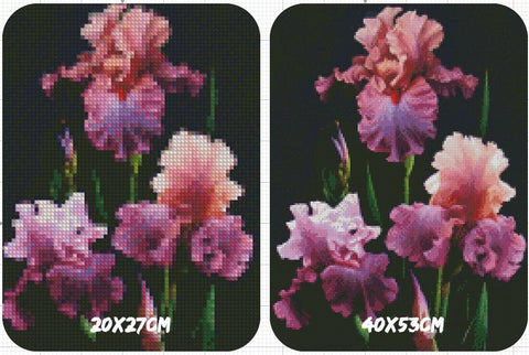 Image of 5D Diamond Painting Purple with Orange Flowers