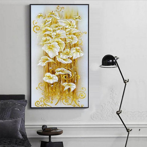 Image of 5D Diamond Painting Golden Vertical Lily Flower
