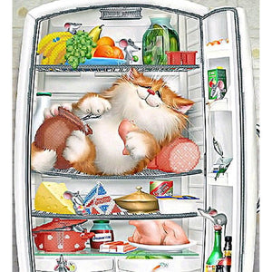 5D Diamond Painting Cat in the Refrigerator
