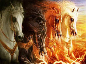5D Diamond Painting Fire Horse Spirits