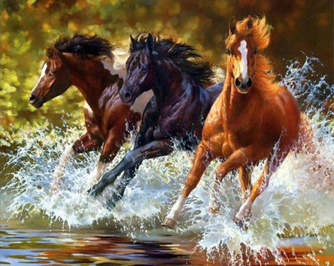 Image of 5D Diamond Painting Galloping Horses