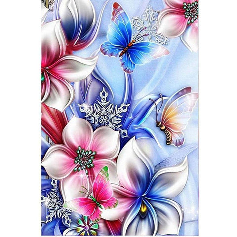 Image of 5D Diamond Painting Flowers and Butterflies