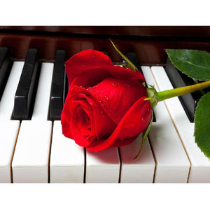 5D Diamond Painting Red Flower in Piano