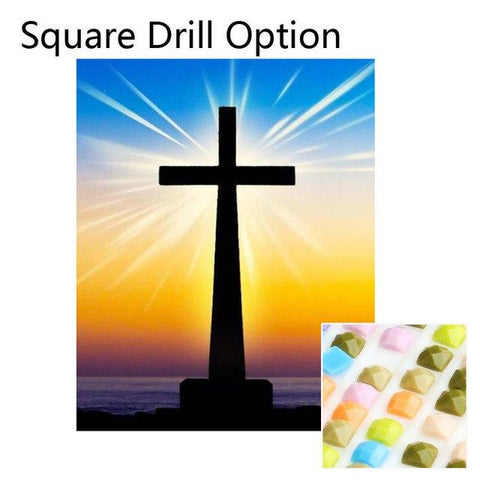 Image of 5D Diamond Painting Cross at Sunset