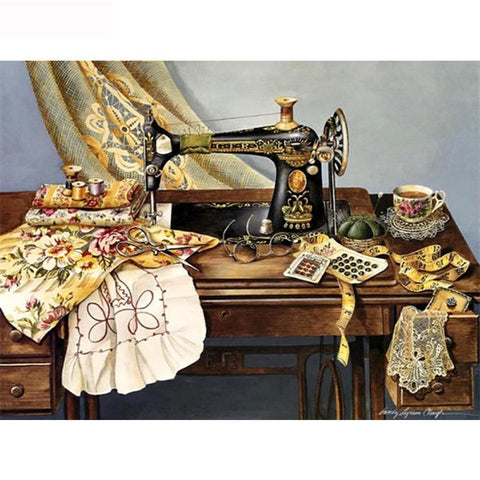 5D Diamond Painting Antique Sewing Machine